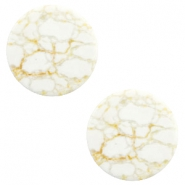 Cabochons basic plat stone look 20mm White-beige brown