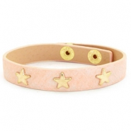 Armband reptile met studs gold star Nude pink