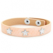 Armband reptile met studs silver star Nude pink
