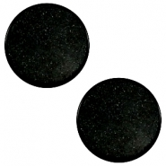 12 mm platte Super Polaris cabochon Black