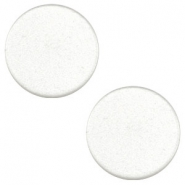 12 mm platte Super Polaris cabochon White