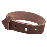 Armbanden Cuoio nubuck leer 15 mm voor 20 mm cabochon Chocolate brown