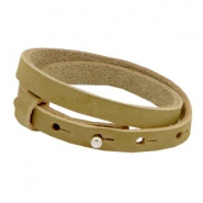 Armbanden Cuoio nubuck leer 8 mm dubbel voor 12 mm cabochon Light olive green