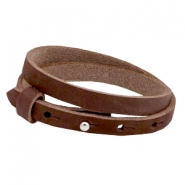 Armbanden Cuoio nubuck leer 8 mm dubbel voor 12 mm cabochon Chocolate brown