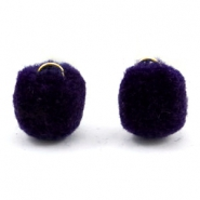 Bedel pompom met oog goud 15mm Dark purple