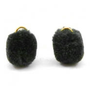 Bedel pompom met oog goud 15mm Anthracite black