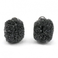 Bedel pompom met oog goud 15mm Anthracite grey
