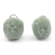 Bedel pompom met oog goud 15mm Chinois green grey