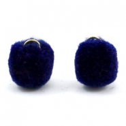 Bedel pompom met oog goud 15mm Crown blue