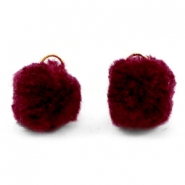 Bedel pompom met oog goud 15mm Port red