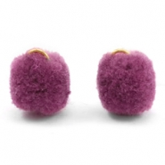 Bedel pompom met oog goud 15mm Heather purple
