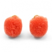 Bedel pompom met oog goud 15mm Coral orange
