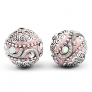 Kralen bohemian 20mm Light pink-silver