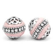 Kralen bohemian 16mm Light pink-silver