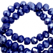 Facet kralen top quality disc 8x6 mm Dazzling blue-half pearl high shine coating