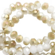 Facet kralen top quality disc 6x4 mm White-half champagne pearl high shine coating