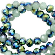 Facet kralen top quality disc 4x3 mm Greenish grey-half blue gold pearl shine coating