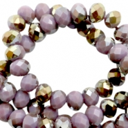 Facet kralen top quality disc 4x3 mm Very grape purple-half gold pearl high shine coating