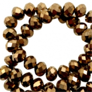 Facet kralen top quality disc 6x4 mm Bronze brown-metallic pearl high shine coating