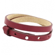 Armbanden Cuoio leer 8 mm dubbel voor 12 mm cabochon Tawny port red