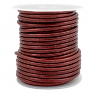 Leer DQ rond 3 mm Rose brown metallic
