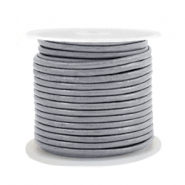 Leer DQ rond 2 mm Cool grey metallic