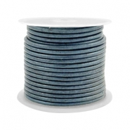 Leer DQ rond 2 mm Haze blue metallic
