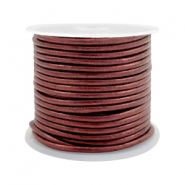 Leer DQ rond 2 mm Rose brown metallic