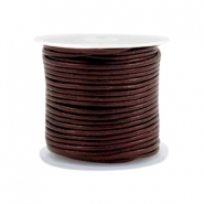 Leer DQ rond 1 mm Mauve brown metallic