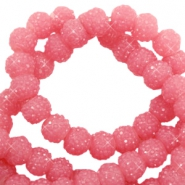 Sparkle beads 6mm Dark rose pink