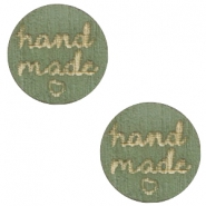"Cabochons hout ""hand made"" 12mm Dark green"