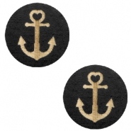 Cabochons hout anchor 12mm Black