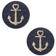 Cabochons hout anchor 12mm Dark blue