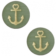 Cabochons hout anchor 12mm Dark green