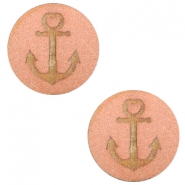 Cabochons hout anchor 12mm Rosegold
