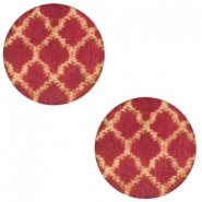 Cabochons hout Moroccan design 12mm Cherry red