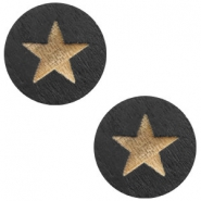 Cabochons hout star 12mm Black