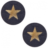 Cabochons hout star 12mm Dark blue