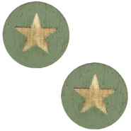 Cabochons hout star 12mm Dark green