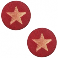 Cabochons hout star 12mm Cherry red