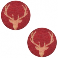 Cabochons hout reindeer 12mm Cherry red