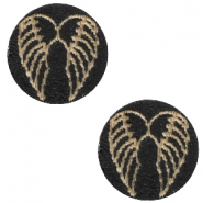 Cabochons hout angel wings 12mm Black