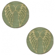 Cabochons hout angel wings 12mm Dark green