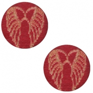 Cabochons hout angel wings 12mm Cherry red