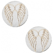 Cabochons hout angel wings 12mm Silver