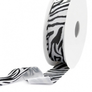 Elastisch Ibiza lint 25mm Black-white
