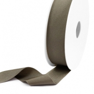 Elastisch Ibiza lint 25mm Metallic dark taupe