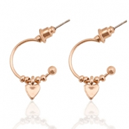 Musthave Oorbellen open ring heart Rosegold