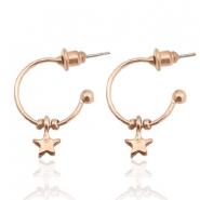 Musthave Oorbellen open ring star Rosegold
