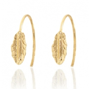 Musthave Oorbellen open ring feather Gold